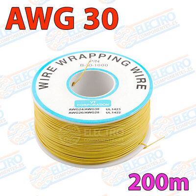 Bobina AWG30 - AMARILLO - 200m Cable Hilo WRAPPING electronica soldar