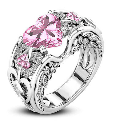 (Princess Silver Plated Pink Sapphire Gem Birthstone Bridal Engagement Heart Ring)