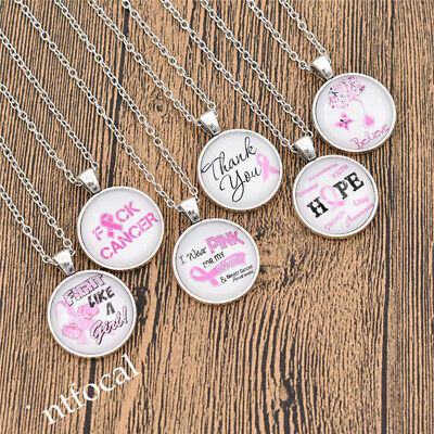 Womens Pink Ribbon Cancer Care Cabochon Necklace Glass Jewelry Inspiration - Pink Gifts