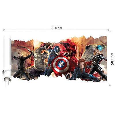 Wall Sticker Comics Marvel The Avengers Team Hulk Thor Decal Art Home Decoration - Avengers Wall Decal