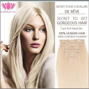100% HUMAN HAIR,Blonde,CLIP IN Hair extension,7pcs set REMY