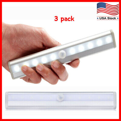 3 Pack 10 LED Motion Sensor Light Night Cabinet Closet Battery Powered Portable