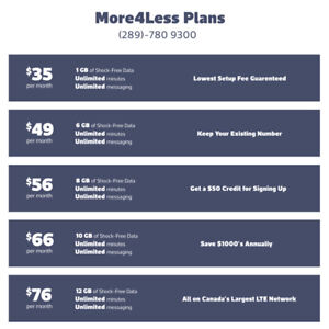 Unlimited Plans. - Talk and Text and Huge Data (LTE) ROGERS BELL