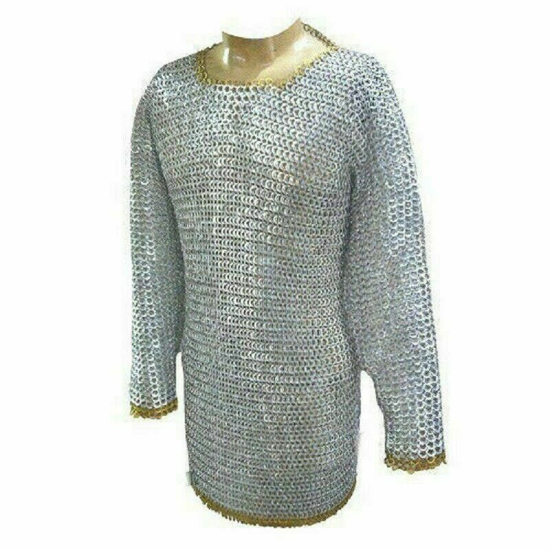 Medieval Armor Aluminum Chain Mail Flat Riveted & Ring Chainmail Costumes LARP