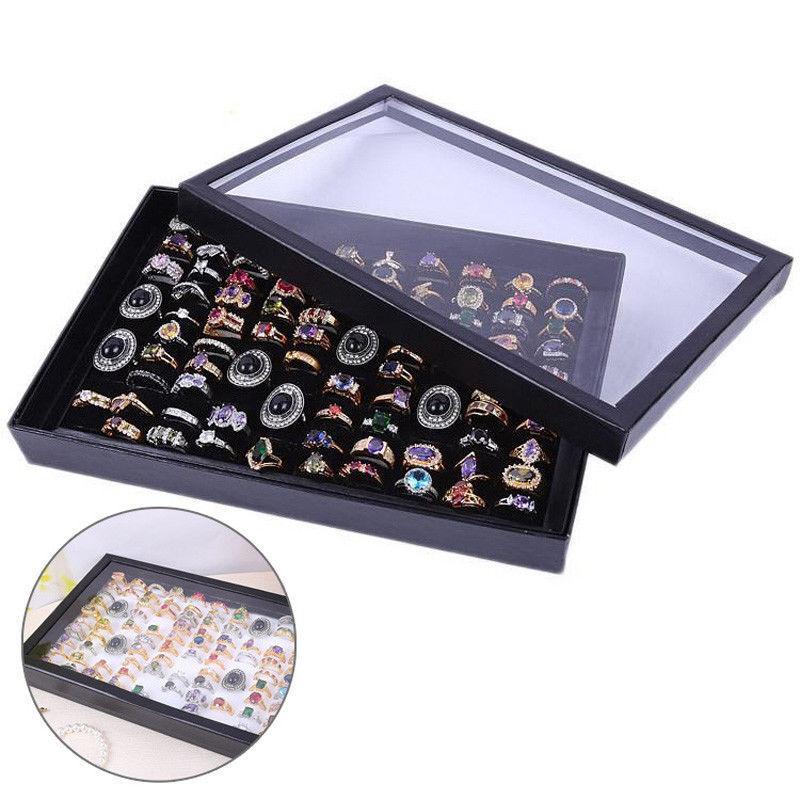 100 Ring Jewellery Display Storage Box Tray Show Case Organiser Holder NOJEWELRY