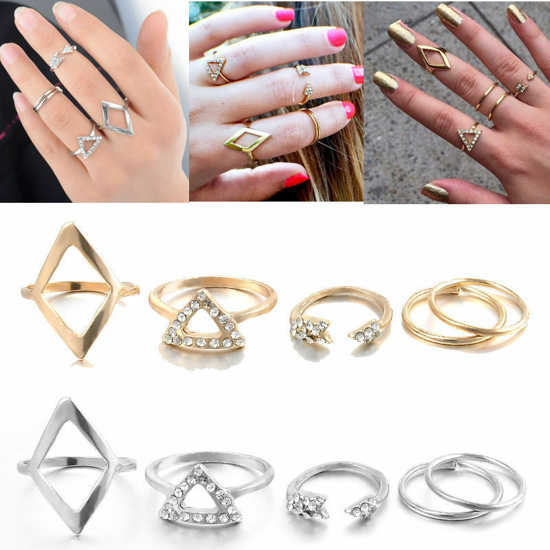 5Pcs//Set Femmes Argent Or Above Knuckle fashion Finger Ring Band Midi Rings