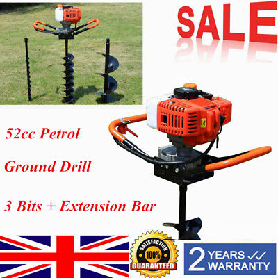 52cc Petrol Post Hole Digger Earth Auger Posthole Ground Drill 4 6 8 Bits