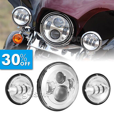 "7"" Motorcycle LED Projector Daymaker Headlight Passing Light For Harley Touring"
