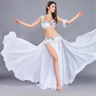 B&D Cup Belly Dance Costume Set Bra Top Belt Skirt Dress Carnival Hollywood 3PCS