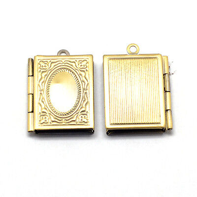 Wholesale Lot 12 Solid Bright Brass Leather Bound Book Locket Medium Pendants
