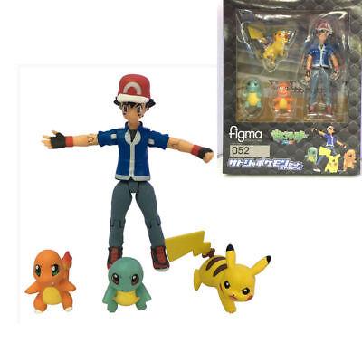 4pcs Pokemon Ash Ketchum Pikachu Squirtle Pocket Monsters PVC Action Figure Gift