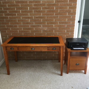 Pine table and printer desk with drawer