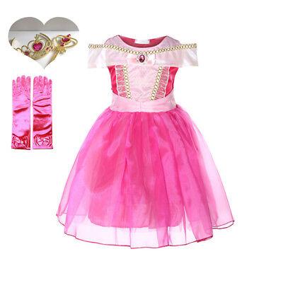 Kids Princess Sleeping Beauty  Aurora Tutu Dress Xmas Halloween Cosplay Costume