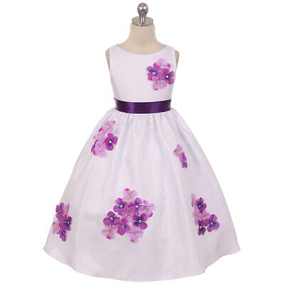 PURPLE Girl Dress Decorated Flower Petals Birthday Bridesmaid Wedding Dance Prom (Spring Dance Decorations)