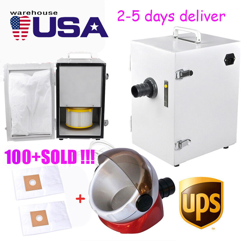 【USA】dental 370W Digital Single-Row Dust Collector Vacuum Cleaner + suction base