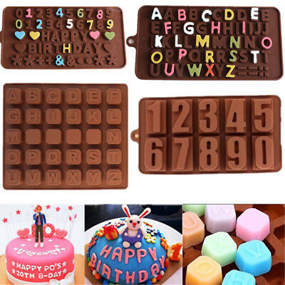 Alphabet Letter Number Silicone Mold Chocolate Cake Decor Mould Tray Baking