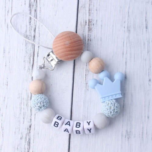 Personalised Name Baby Pacifier Clips Funny Pacifier Chain With Crown Holder