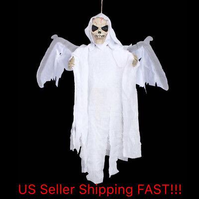 Halloween Flying Ghoul LED Eyes Sound Hanging Decoration White