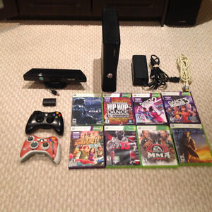 XBOX 360 S with Kinect + 2 Controllers + 8 Games **MUST GO**