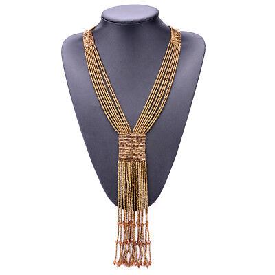(Sexy Boho Long Fringe Tassel Necklaces Women Beads Bohemian Fine Jewelry)