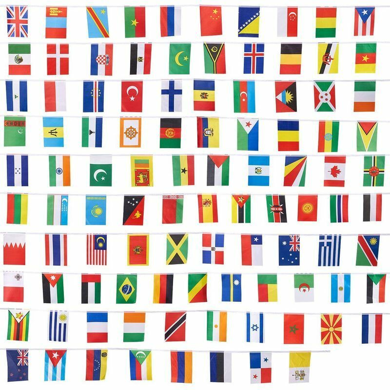 100 World International Countries Flags Banner Event Hanging Decoration 80 Feet