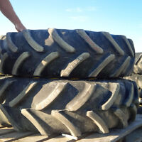 Two 13.6R24 Firestone Front Tractor Tires and Rims