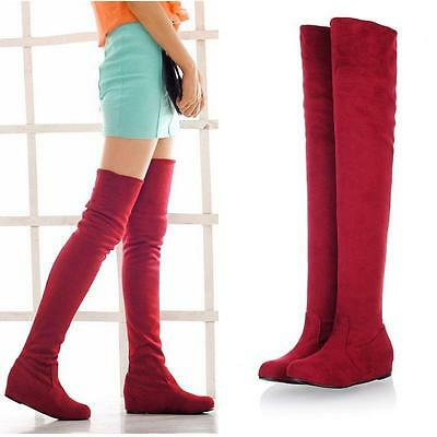 Fashion Women Winter Flat Bottom Shoes Over The Knee Thigh High Suede Long Boots