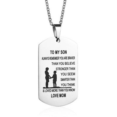 Mother Son Pendant To My Son Never Forget That I Love You Dog Tag Necklace Gift (Dog Tag Necklaces)