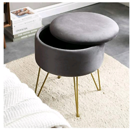 Light grey Foot stool or dressing table stool with storage, brand new