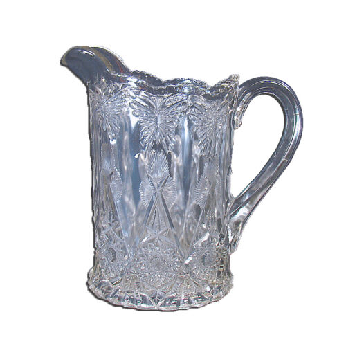 Pressed Glass Water Pitcher with Butterflies - 1920