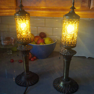 2 Florentine Amber Crackle Lamps