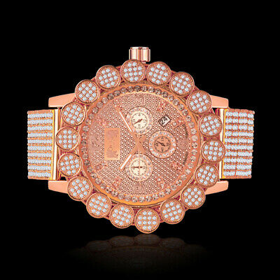 Ice House Flower Bezel Watch Rose Gold Finish Real Diamond Dial Custom Khronos