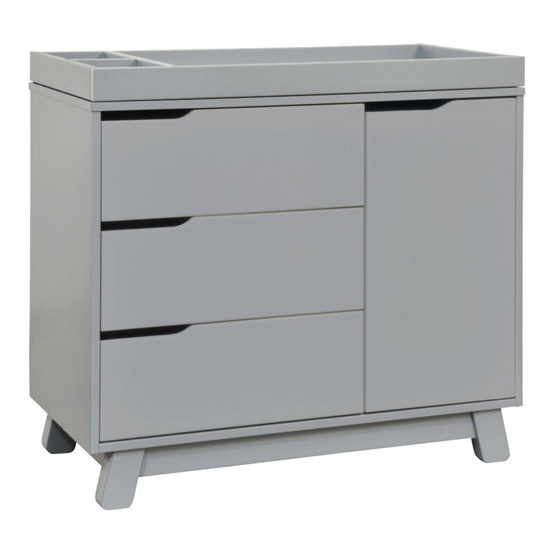 Babyletto Hudson 3 Drawer Dresser with Removable Changing Tray in Gray