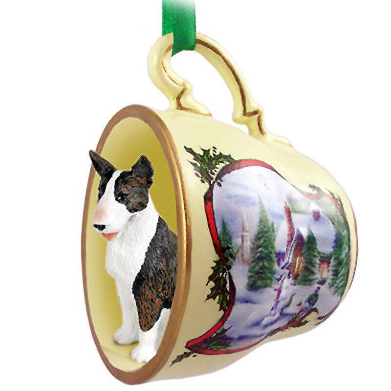 Bull Terrier Christmas Teacup Ornament Brindle