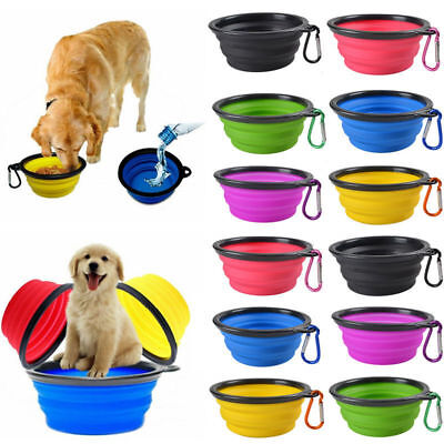 (Travel Collapsible Foldable Pet Dog Bowl Food Water Bowls Dish Toy Flyer Frisbee)