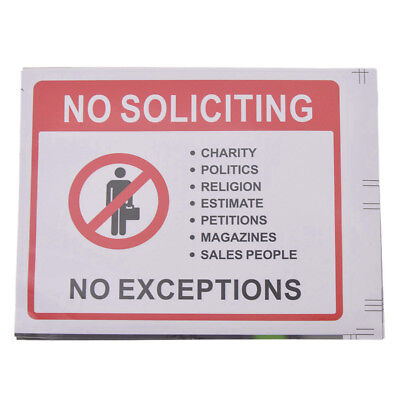 2 Sheet No Soliciting Warning Sign Sticker PVC Waterproof Front Door Signs Home