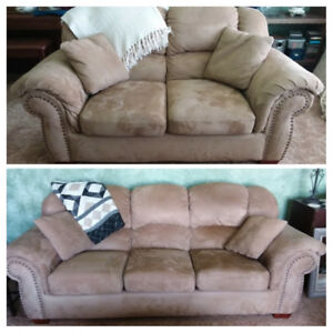 Like new micro fiber lazy boy couch and love seat