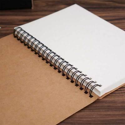 NEW Retro Spiral Bound Coil Sketch Book Blank Notebook Kraft Sketching Paper