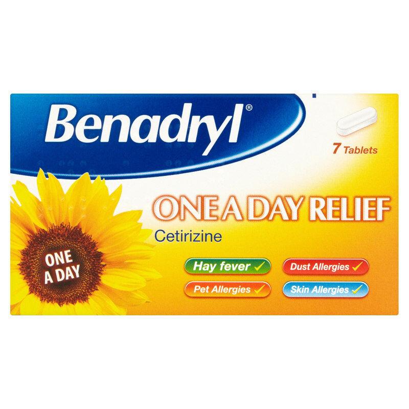 benadryl ONE AL GIORNO Allergia SOLLIEVO 7 COMPRESSE - certirizine - hayfeaver,