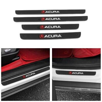 Acura Silver-Black Rubber Car Door Scuff Sill Cover Panel Step Protector 4PCs