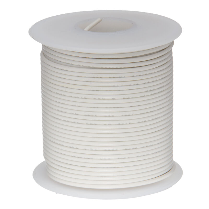"""22 AWG Gauge Solid Hook Up Wire White 100 ft 0.0253"""" UL1007 300 Volts"""