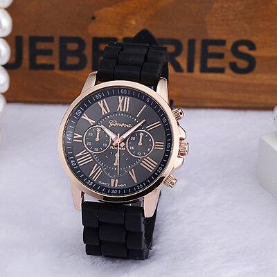 Fashion Silicone Jelly Gel Stainless Men Women Steel Analog Quartz Wrist Watch B