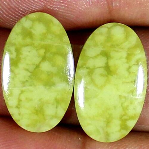 20.65 Cts Natural Yellow OPAL Pair 13x22x3 mm Oval Cabochon Loose Gemstones