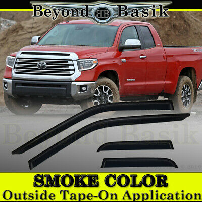 Extended Cab 4 Door (For 2007-2019 Tundra Extended Cab 4 Door Smoke Vent Window Visors Rain)