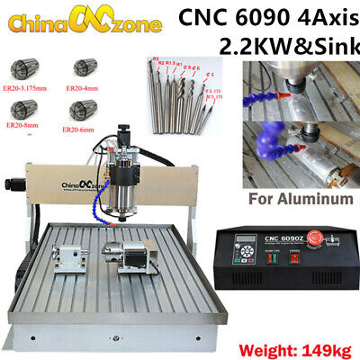 Cnc 6090 4-axis Router Milling Engraving Machine Cutting Handwheel Sink 2.2kw Us