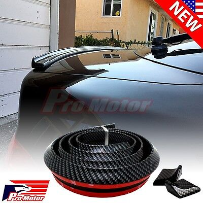 Carbon Fiber Universal Spoiler Rubber Rear Roof Trunk Molding Lip Sport Wing 3M - Oem Trunk Kit Body