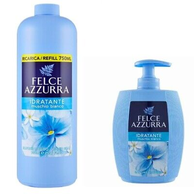 PAGLIERI Felce Azzurra Muschio Bianco Flüssigseife Spender 300ml+ 750ml Refill
