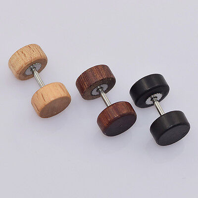 Designer Wood Earrings - Women Men Wood Ring Dumbbell Barbell Design Ear Stud Stainless Steel Earrings