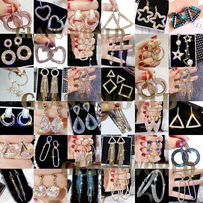 925 Silver Luxury Earrings Women Crystal Tassel Geometric Hoop Earrings Jewelry