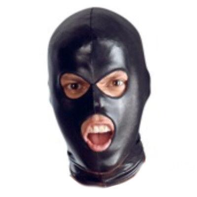 Faux Leather MOUTH EYE 3 Hole Opening HOOD balaclava mask BLACK Halloween - Halloween 3 Opening